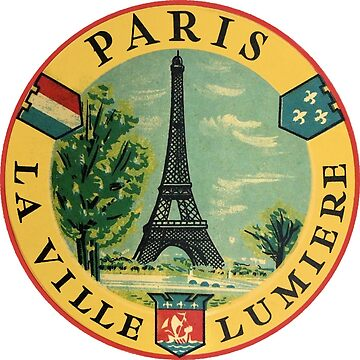 Paris France Eiffel Tower Vintage Travel Decal by hilda74