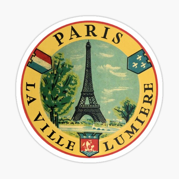Paris France Eiffel Tower Vintage Travel Decal Sticker
