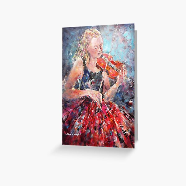 Music-Girl with Violin(Red Skirt) MM 3965x2550 Greeting Card