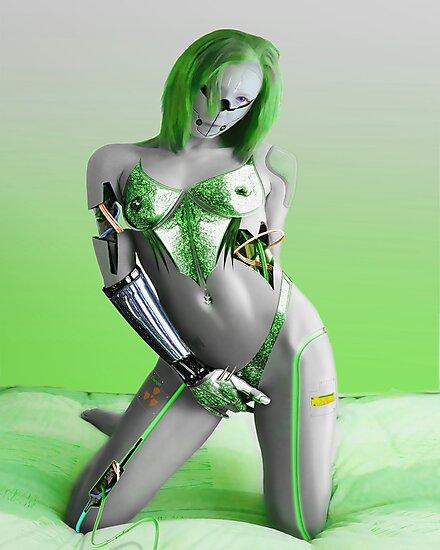 SEXY GREEN CYBORG by moleymole