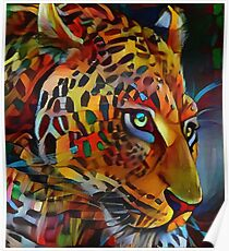 Leopardo of colores, leopard, panthere Poster