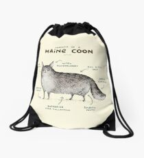 Anatomy of a Maine Coon Drawstring Bag