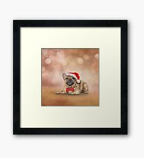 Drawing dog French Bulldog in red hat of Santa Claus  Framed Print