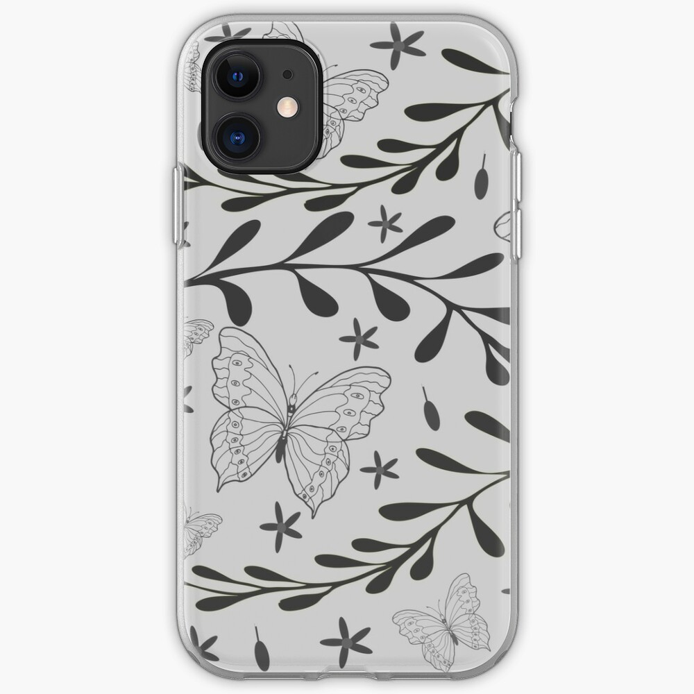 Fern and Butterfly by Art and Patterns1 iPhone Soft Case