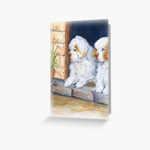 Two Clumbers in a doorway Greeting Card