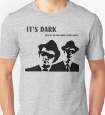 Blues Brothers Quote, It's Dark, And We Are Wearing Sunglasses, Artwork, Tshirts, Prints, Bags, Posters, Men, Women, Kids Slim Fit T-Shirt