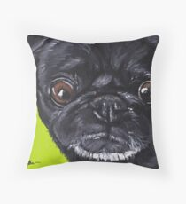 Cojín de suelo Black Pug Art, Cute Pug, Dog Painting.