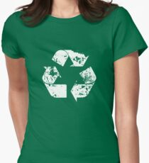 Recycle (Distressed - White) Women's Fitted T-Shirt