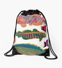 Colorful Abstract Fish Art  Drawstring Bag