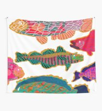 Colorful Abstract Fish Art  Wall Tapestry