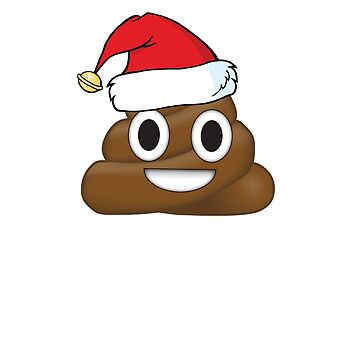 Funny Christmas Poop Emoji wearing a Santa hat by ETIndustries