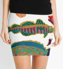 Colorful Abstract Fish Art  Mini Skirt