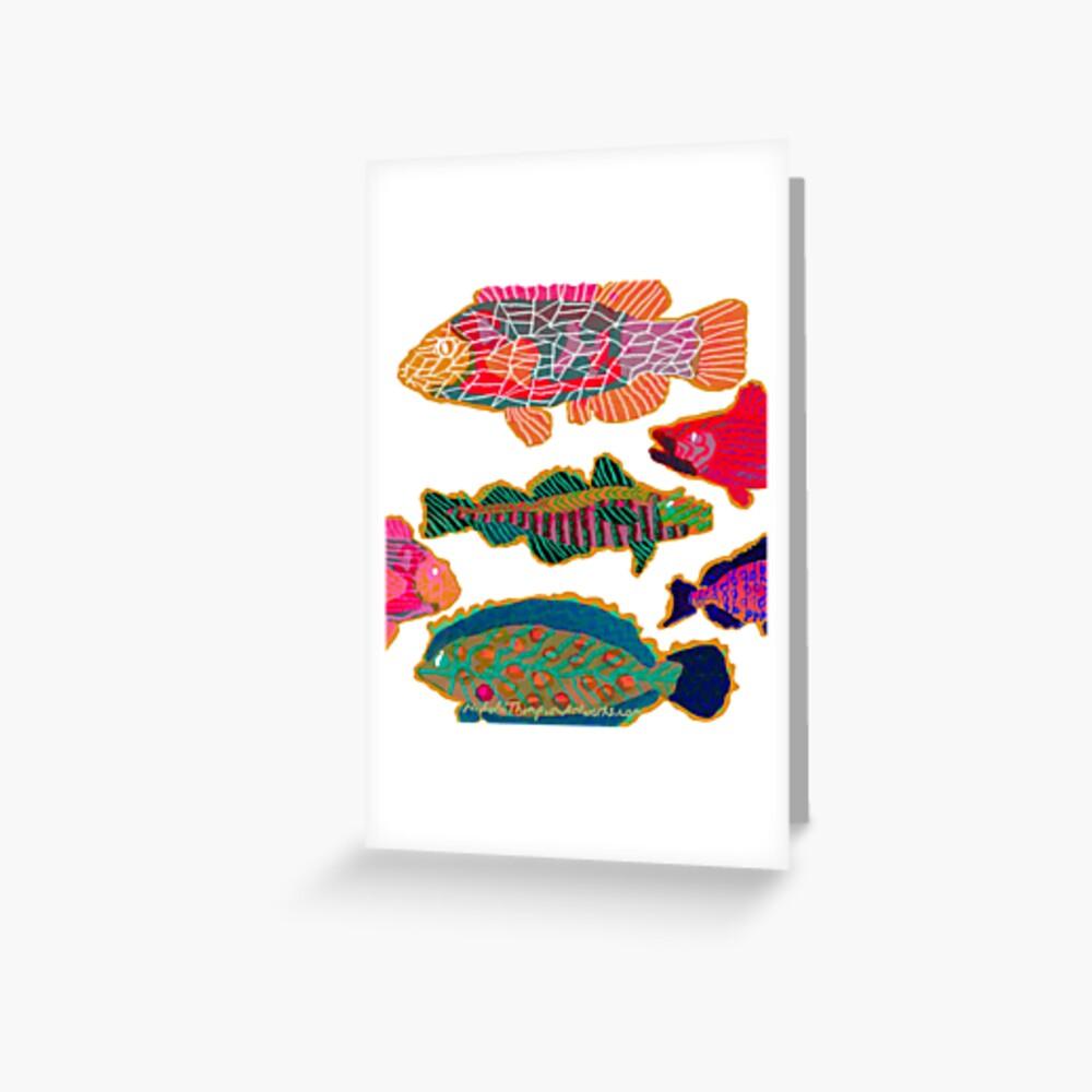 Colorful Abstract Fish Art  Greeting Card