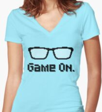Game On  - Nerdy Pixel Art  Women's Fitted V-Neck T-Shirt