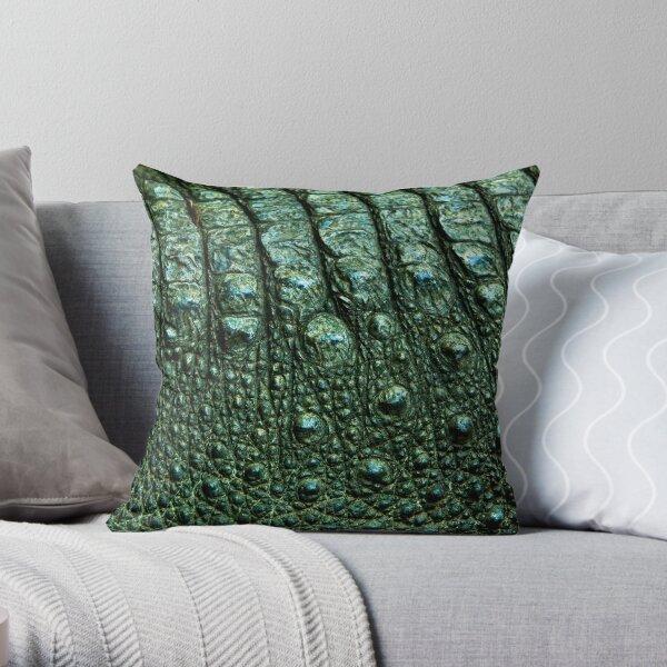 Green Alligator skin Throw Pillow