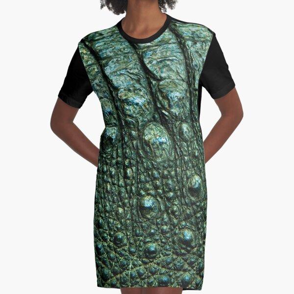 Green Alligator Skin Graphic T-Shirt Dress