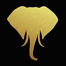 Gold Elephant Head Black by julieerindesign