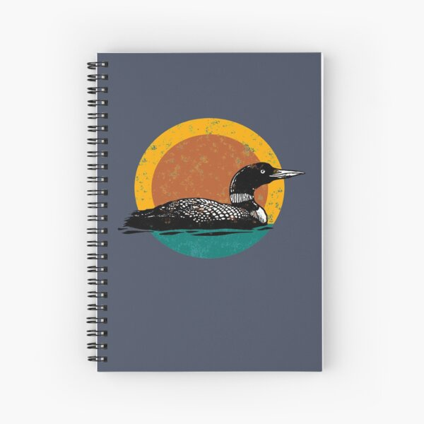 Loon Sunset- Faded Look with Retro Colors Spiral Notebook