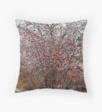 Berry Tree in Winter Time Throw Pillow