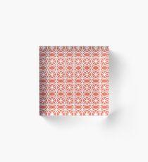 Pantone Living Coral and White Rings, Circle Heaven 2, Overlapping Ring Design - Digital Artwork Acrylic Block