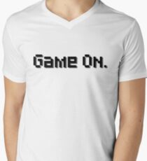 """Game On."" Text - Nerdy Pixel Art Men's V-Neck T-Shirt"