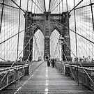 Brooklyn Bridge, New York City (rustic black & white) by Ray Warren