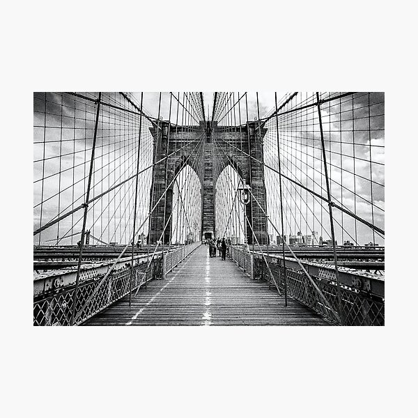 Brooklyn Bridge, New York City (rustic black & white) Photographic Print
