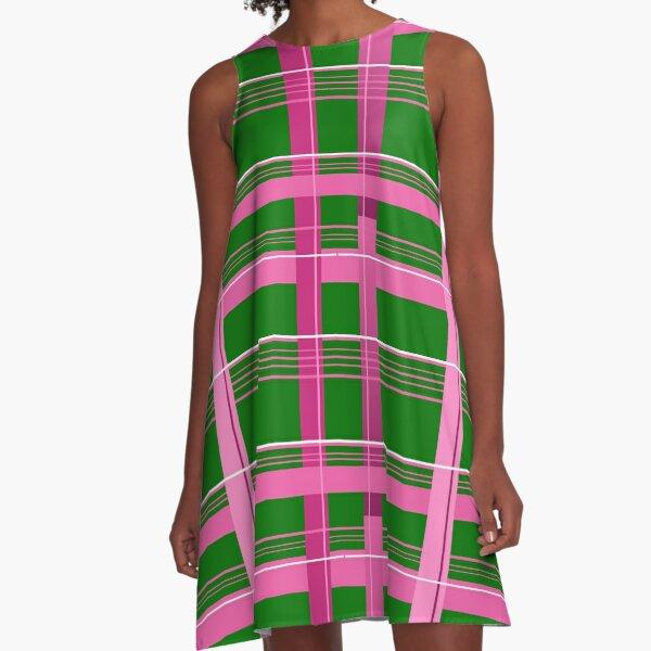 Plaid Pink, Green & White A-Line Dress