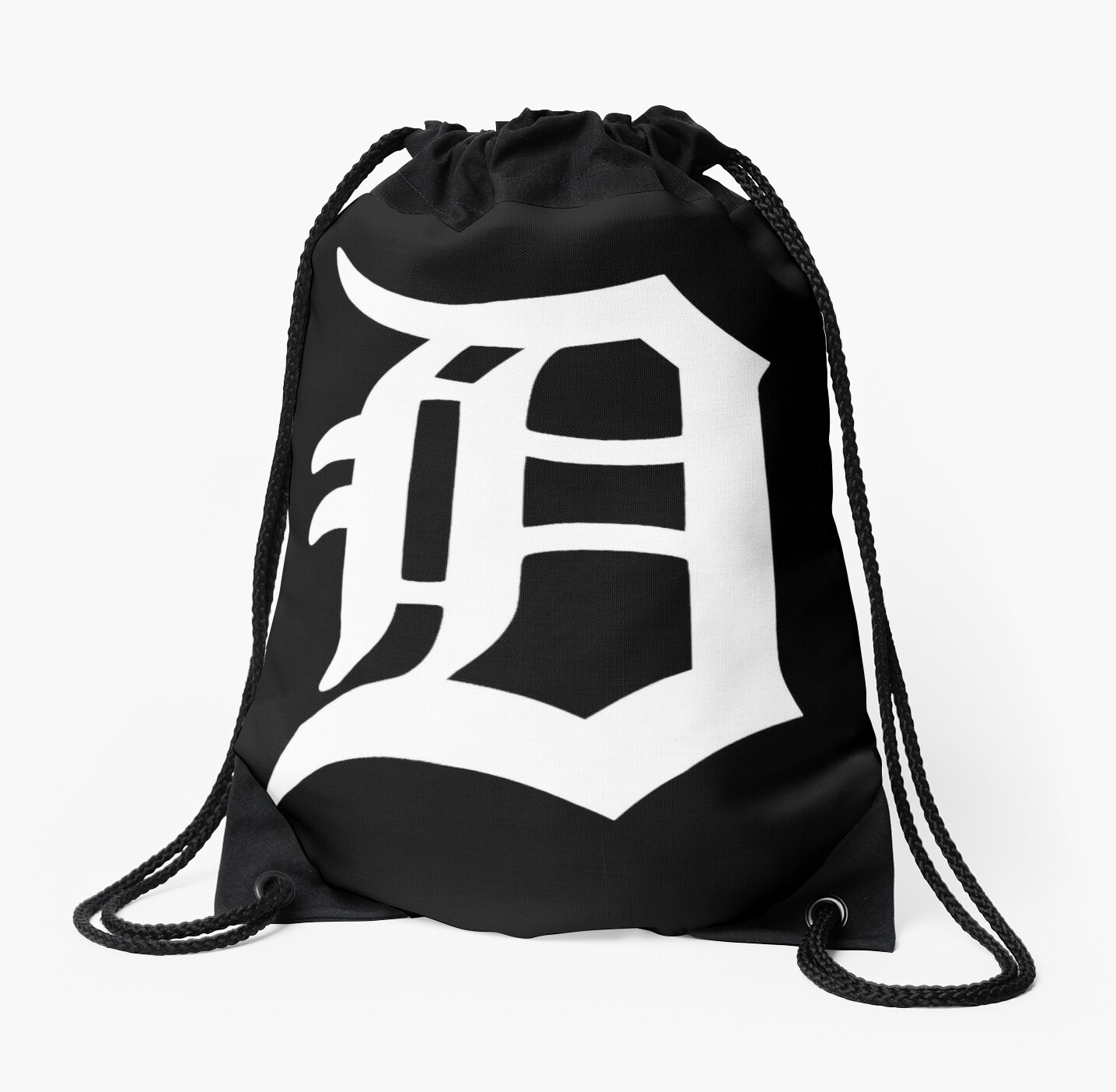 detroit old english d drawstring bags by corywatch redbubble