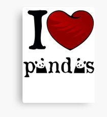 I heart Pandas Canvas Print