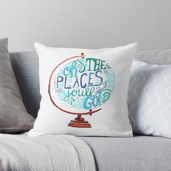 Oh The Places You'll Go - Vintage Typography Globe Throw Pillow