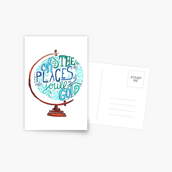 Oh The Places You'll Go - Vintage Typography Globe Postcard