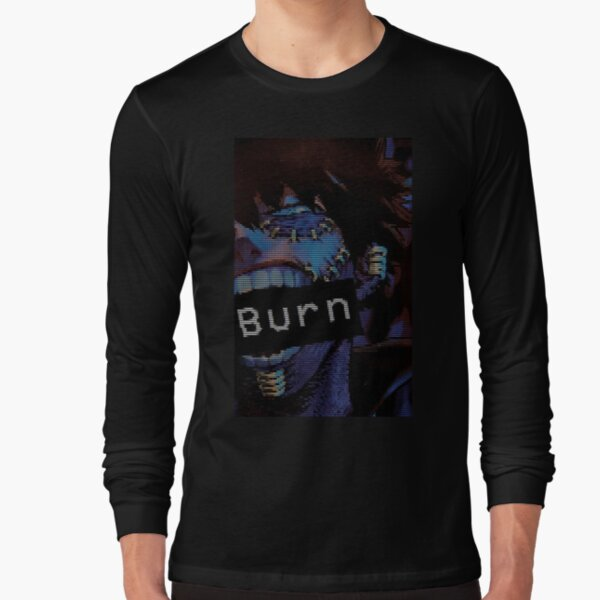 BNHA Dabi VHS Aesthetic 'Burn'  Long Sleeve T-Shirt