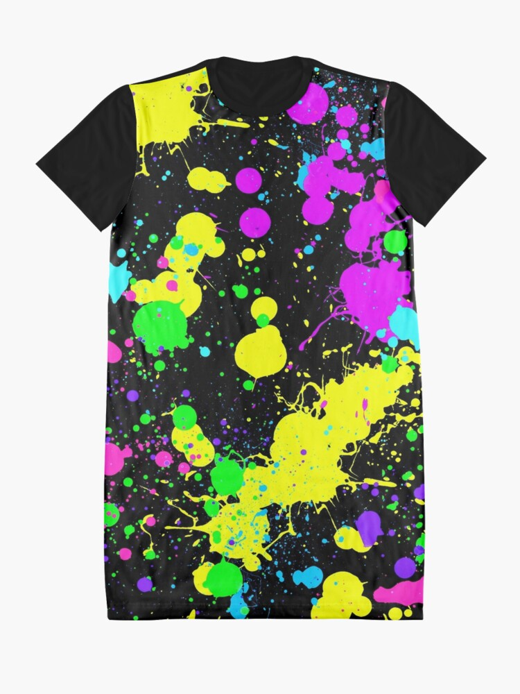 Alternate view of Neon Paint Splatter in Turquoise, Yellow, Green, Blue. Graphic T-Shirt Dress