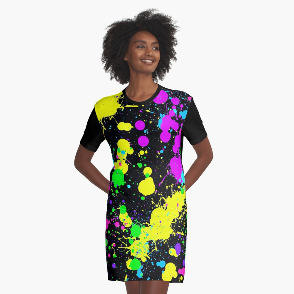 Neon Paint Splatter in Turquoise, Yellow, Green, Blue. Graphic T-Shirt Dress