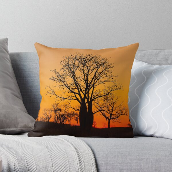 Boab trees at sunset in the Kimberley, Western Australia Throw Pillow