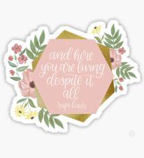 Rupi Kaur Quote Light Pink Hexagonal Floral Design Sticker
