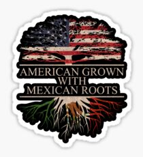 American Grown With Mexican Roots Sticker Black Sticker