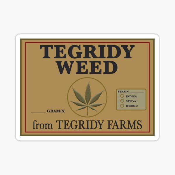 Tegridy Weed From Tegridy Farms Label Parody  Sticker