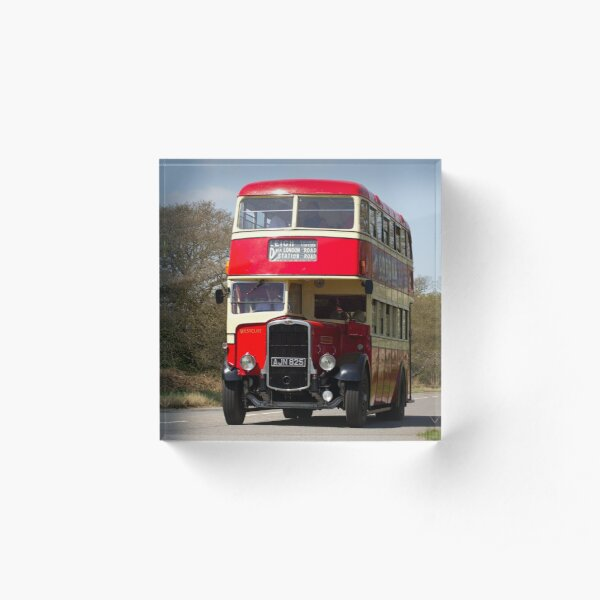 Vintage Red Bus Acrylic Block