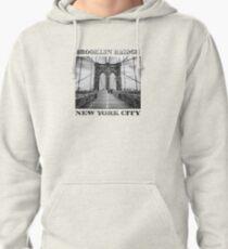 Brooklyn Bridge, New York City (rustic black & white) Pullover Hoodie