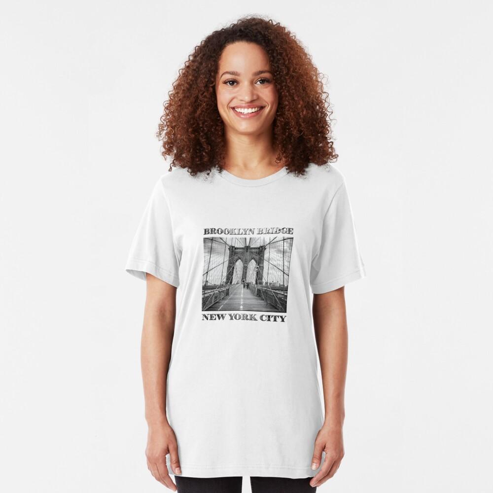 Brooklyn Bridge, New York City (rustic black & white) Slim Fit T-Shirt