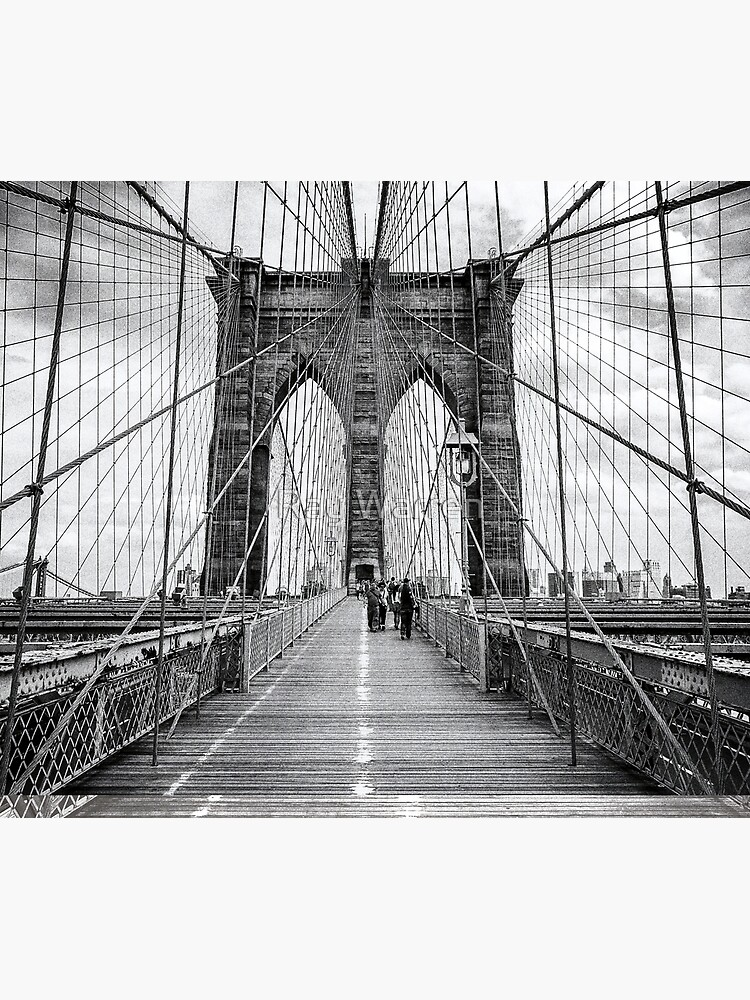Brooklyn Bridge, New York City (rustic black & white) by RayW