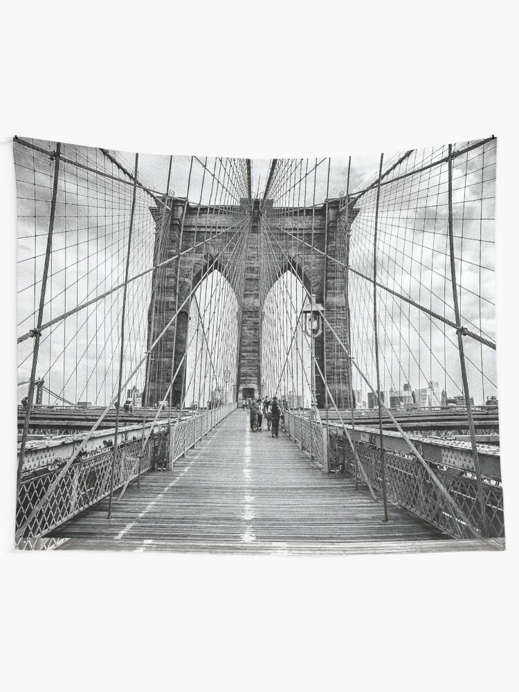 Alternate view of Brooklyn Bridge, New York City (rustic black & white) Tapestry