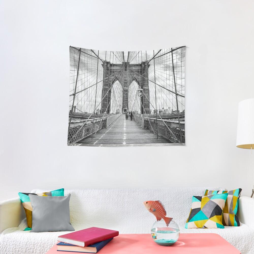 Brooklyn Bridge, New York City (rustic black & white) Tapestry