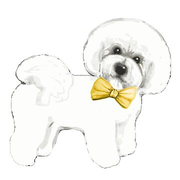 Bichon Frise dog with bow on mustard yellow by MagentaRose