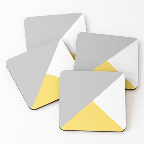 Tricolor Silver Gray Mustard Yellow And White Coasters (Set of 4)