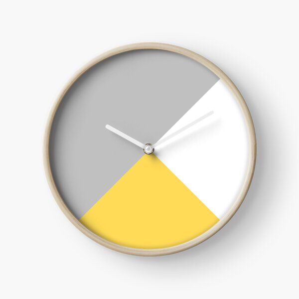 Tricolor Silver Gray Mustard Yellow And White Clock