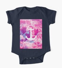 Girly Nautical Anchor Bright Pink Clouds Sky One Piece - Short Sleeve