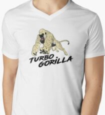 Der Turbo-Gorilla - Mit dem Rennwagen T-Shirt mit V-Ausschnitt für Männer
